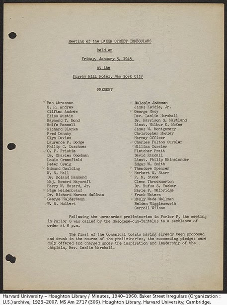 First page of the 1945 BSI Dinner minutes