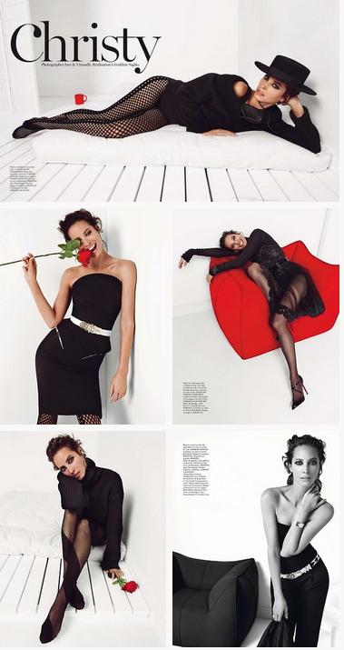 Christy poses on Vogue's magazine