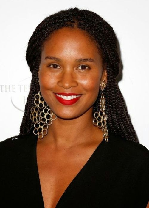 Joy Bryant African American Half-up half-down Senegalese Twist Braids Hairstyle With Pictures