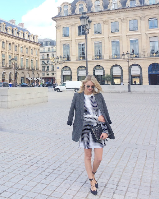 paris street style, breton stripe dress, stuart weitzman lace up flats, zara croc lather bag, zara chanel boy bag, grey blazer, boyfriend blazer