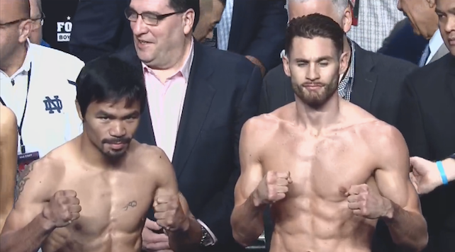 Manny Pacquaio and Chris Algieri weigh in