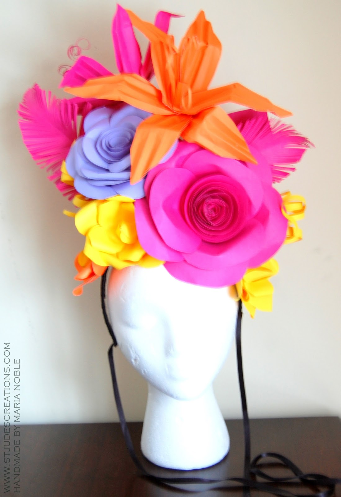Large paper flower hat handmade paper flowers by maria noble large paper flower hat mightylinksfo