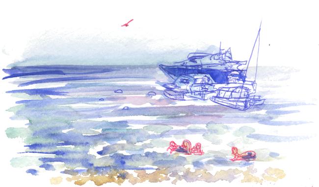 """Shiho Nakaza """"Los Angeles"""" Catalina ocean watercolor sketching pen"""