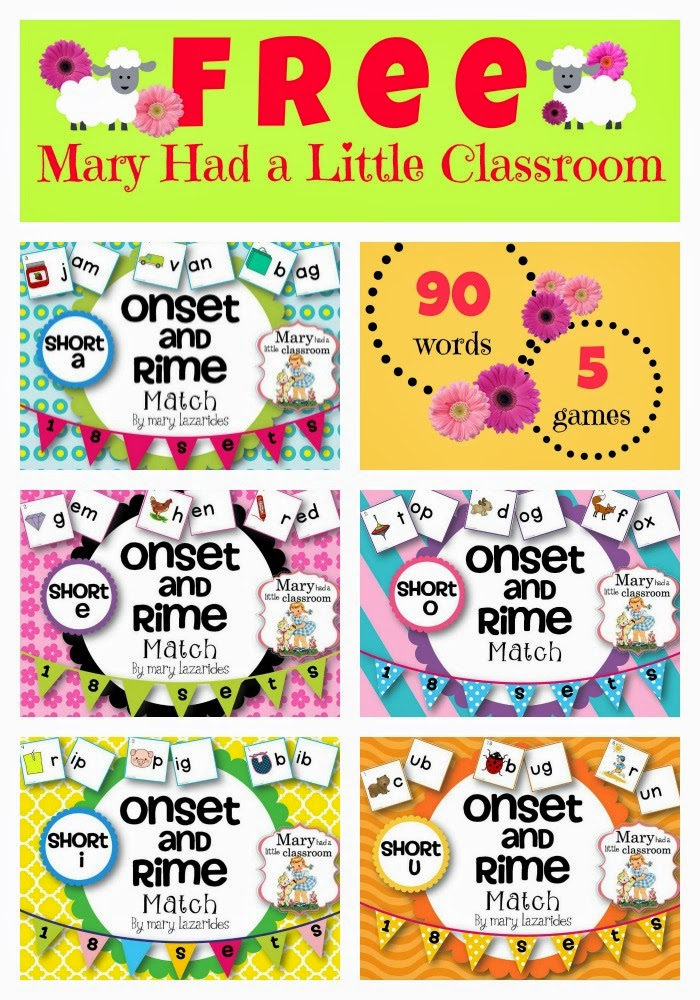 Mary Had A Little Classroom Onset and Rimes Five Free Games for – Onset and Rime Worksheets