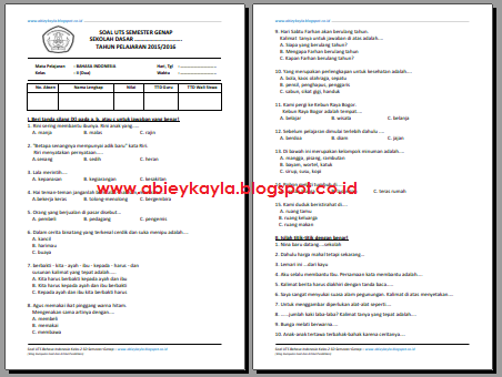 Soal UTS BAHASA INDONESIA Kelas 2 SD Semester 2/Genap