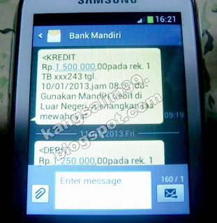 info kredit via SMS bank mandiri