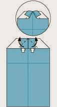 Bước 9: Mở lớp giấy trên cùng ra, kéo và gấp lớp giấy lên trên.
