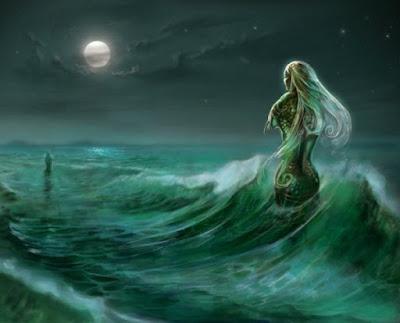 Pintura homenaje: silueta de mujer en una ola de mar