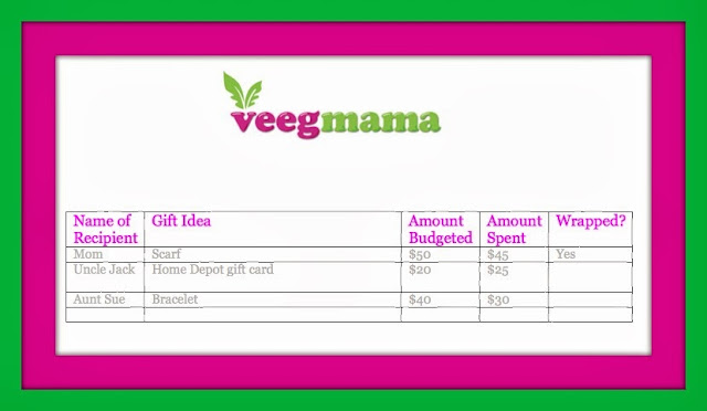 VeegMama's planner for buying holiday gifts