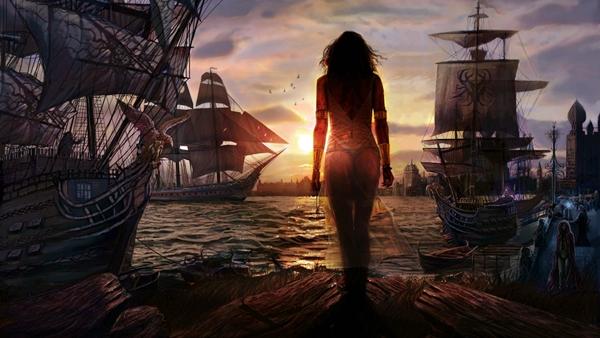 Mujer Hermosa en el Puerto de Navíos