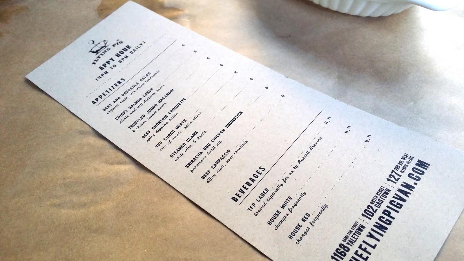 Sophia Eats: The Flying Pig (in Gastown): \'Appy Hour, $6 per Dish