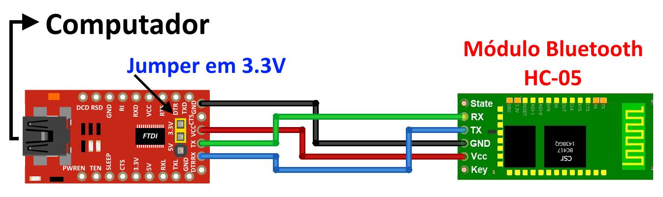 Circuito FTDI 232RL e módulo Bluetooth HC-05