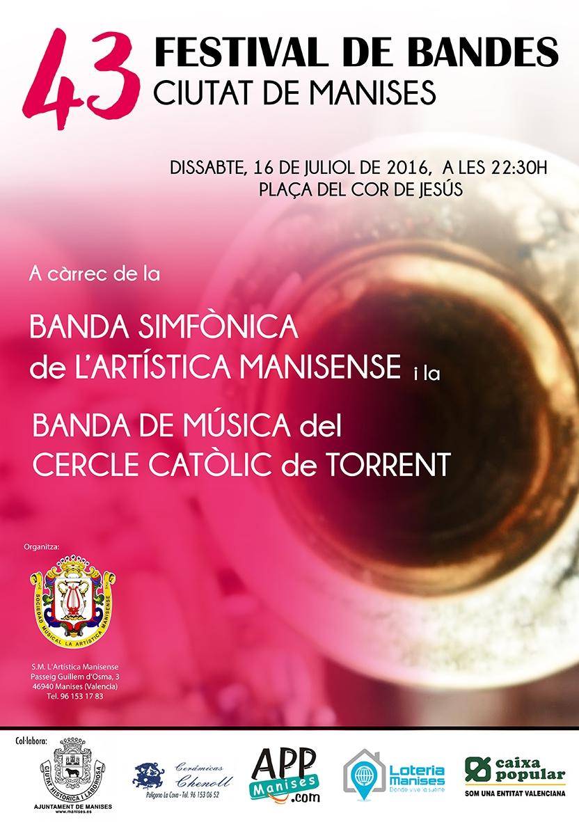 16.07.16 FESTIVAL DE BANDES CIUTAT DE MANISES, EN LA PL. DEL COR DE JESÚS, ANTIGA PLAÇA DEL MERCAT