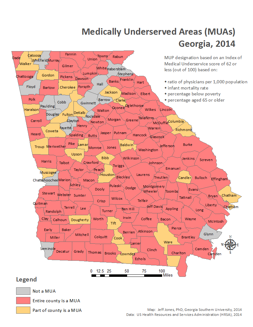 middling america georgia s medically underserved areas
