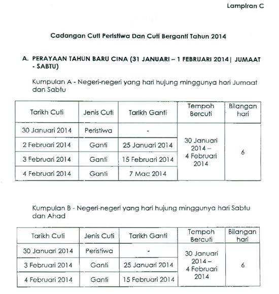 Cuti sekolah ganti adalah pada 25 Januari, 15 Februari dan 7 Mac 2014