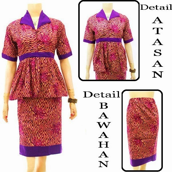 DB3832  Model Baju Dress Batik Modern Terbaru 2014