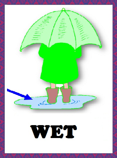 Kindergarten Worksheets: Weather flashcards - Wet
