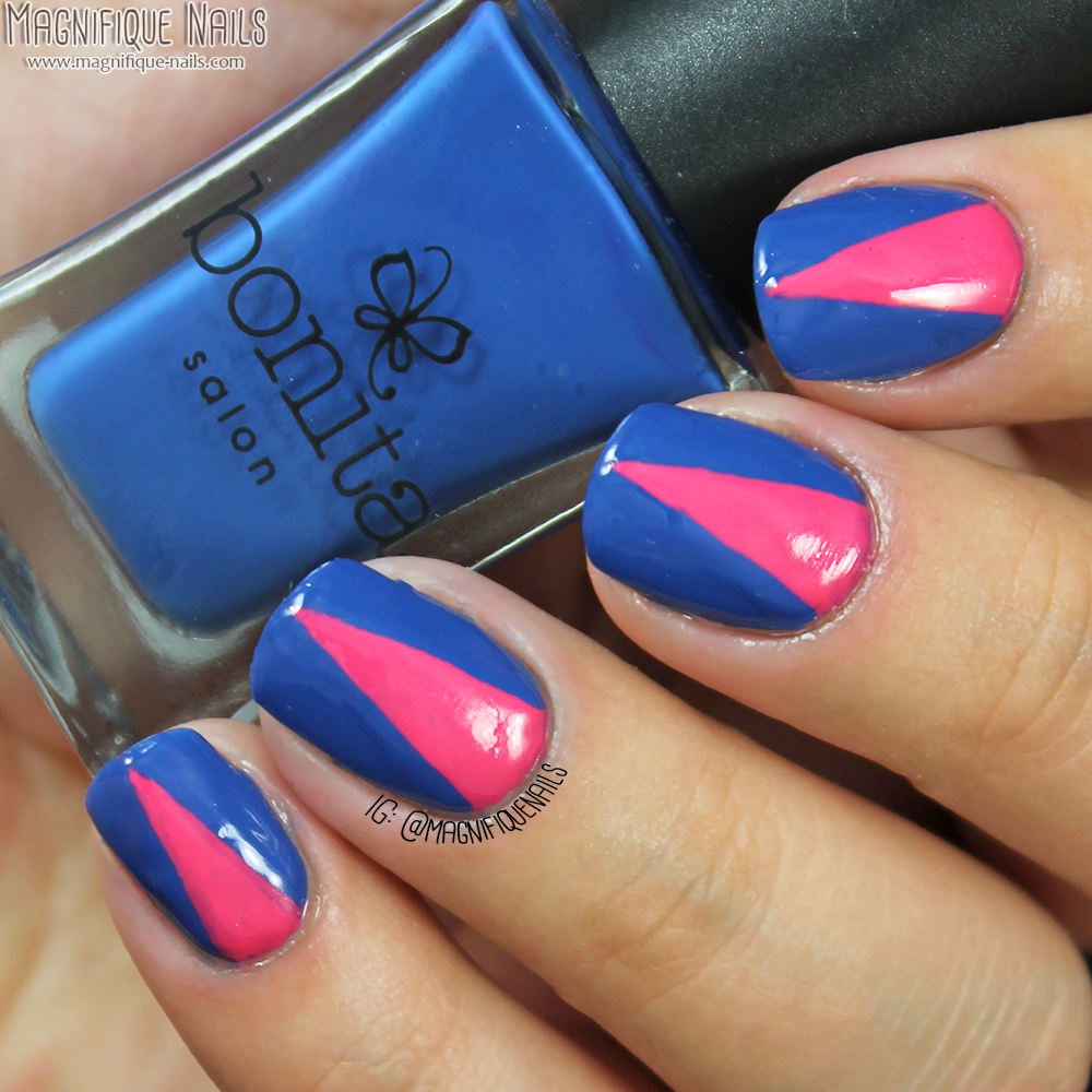 Magically polished nail art blog bonita cosmetics salon first i applied two coats of bonita colors blue love once the polish was completely dry using a nail art brush i freehand a v shape with miss piggy prinsesfo Images