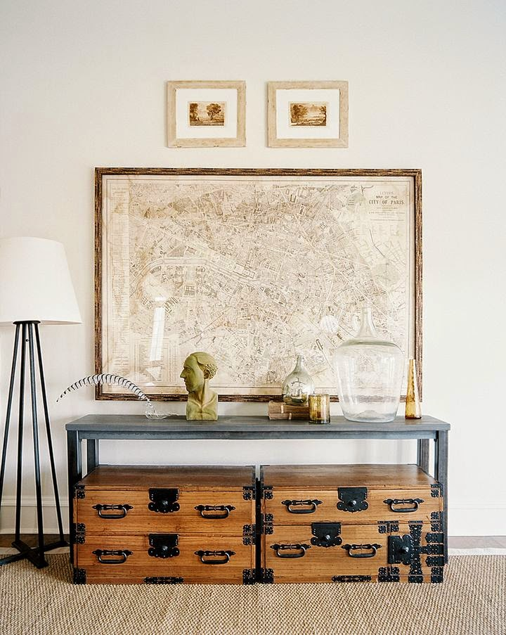 vintage framed map as artwork in entryway