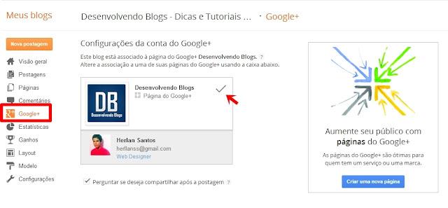 Vincular página do Google+