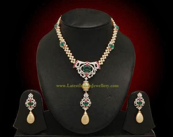 Pearls and Diamond Necklace Set