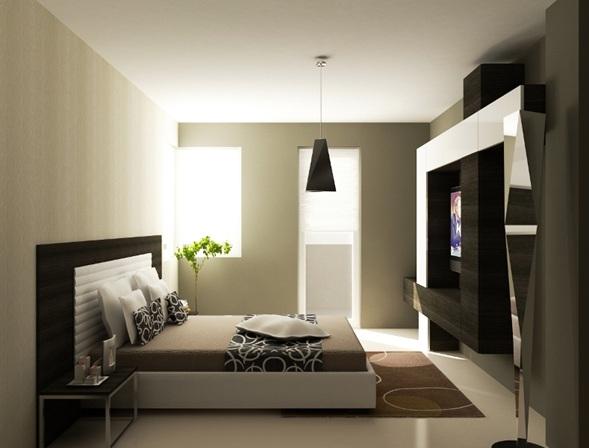 Una moderna habitaciu00f3n neutral con paredes beige, detallesde muebles ...
