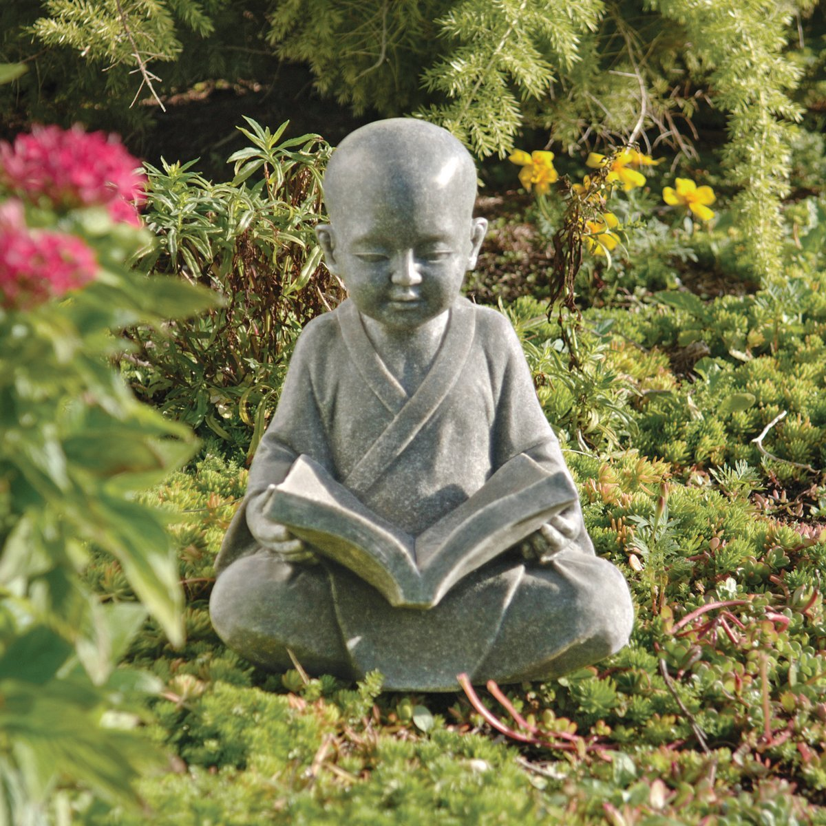 baby buddha reading book garden statue garden buddha statues. Black Bedroom Furniture Sets. Home Design Ideas