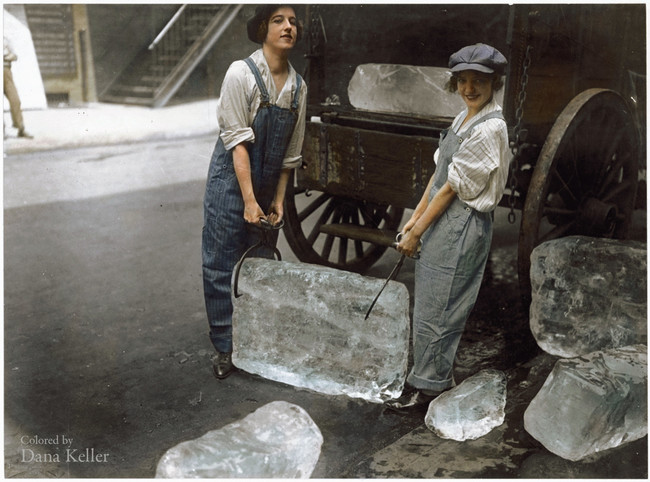 Girls delivering ice 1918.