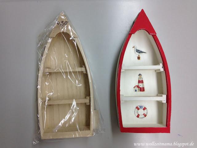 DIY Setzkasten Boot im Shabby Chick bemalen