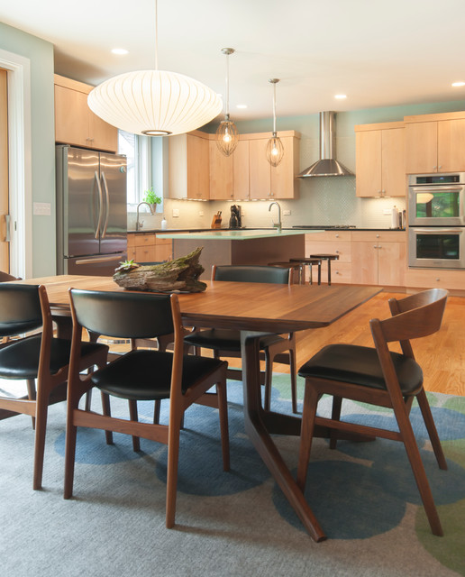 Fantastic Dining Room Design with Wooden Dining Room Tables And Chairs near the Wooden Kitchen Space