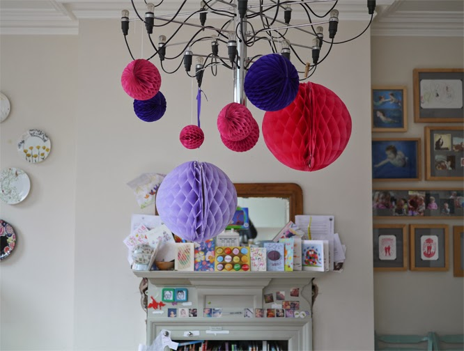 I love these hanging honeycombe balls from Papermash and Tiger Stores