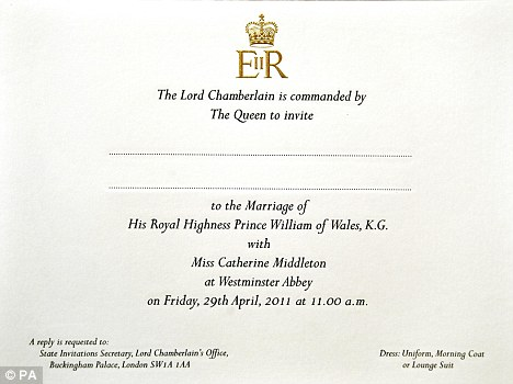 will and kate royal wedding invitation. prince william royal wedding