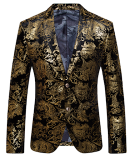 Golden Antique Black Velvet Luxury Blazer At PerfectMensBlazers.Com