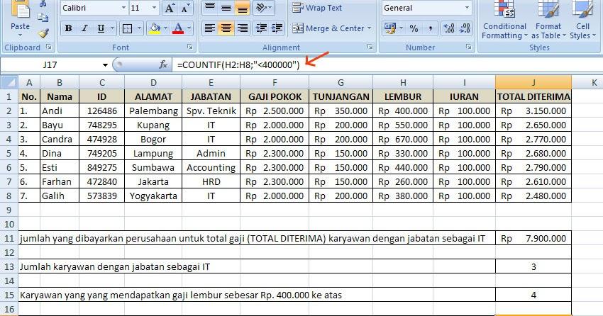 Rumus Excel Membuat Rekapitulasi Data Dengan Fungsi If D E J A V A N T A