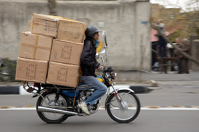 moving boxes on a motorcycle