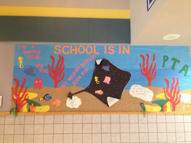 school is in bulletin board idea, school of fish bulleting board