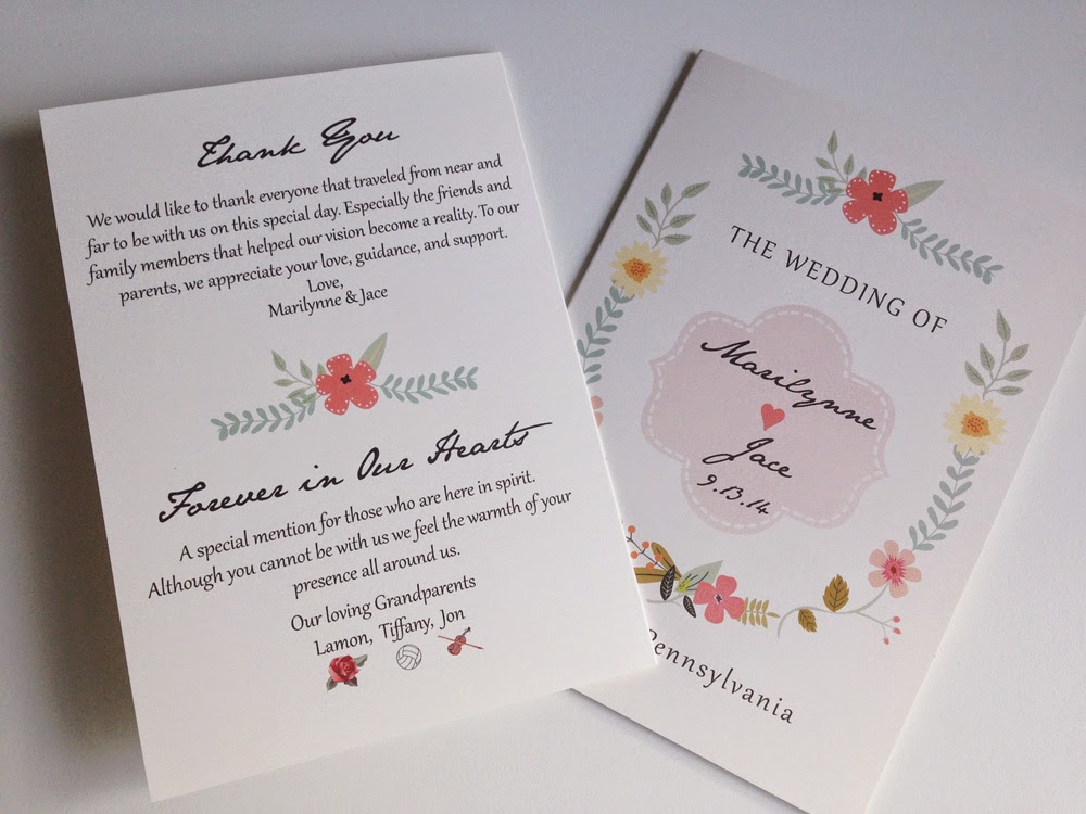 Rustic Floral Wedding Programs by Designed By M.E. Stationery