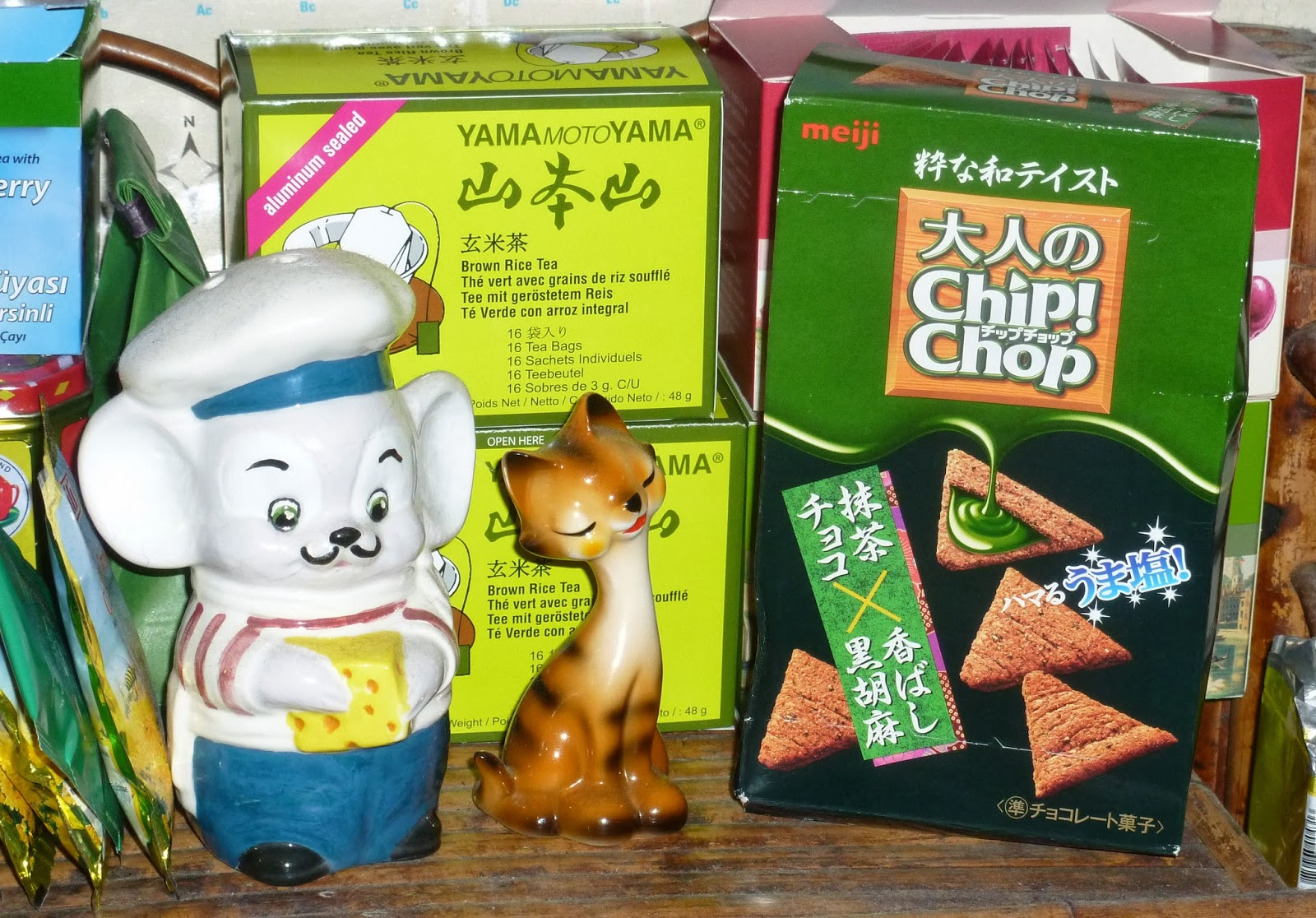 ... Meiji Chip! Chop Matcha Green Tea, Chocolate and Sesame Flavour snacks