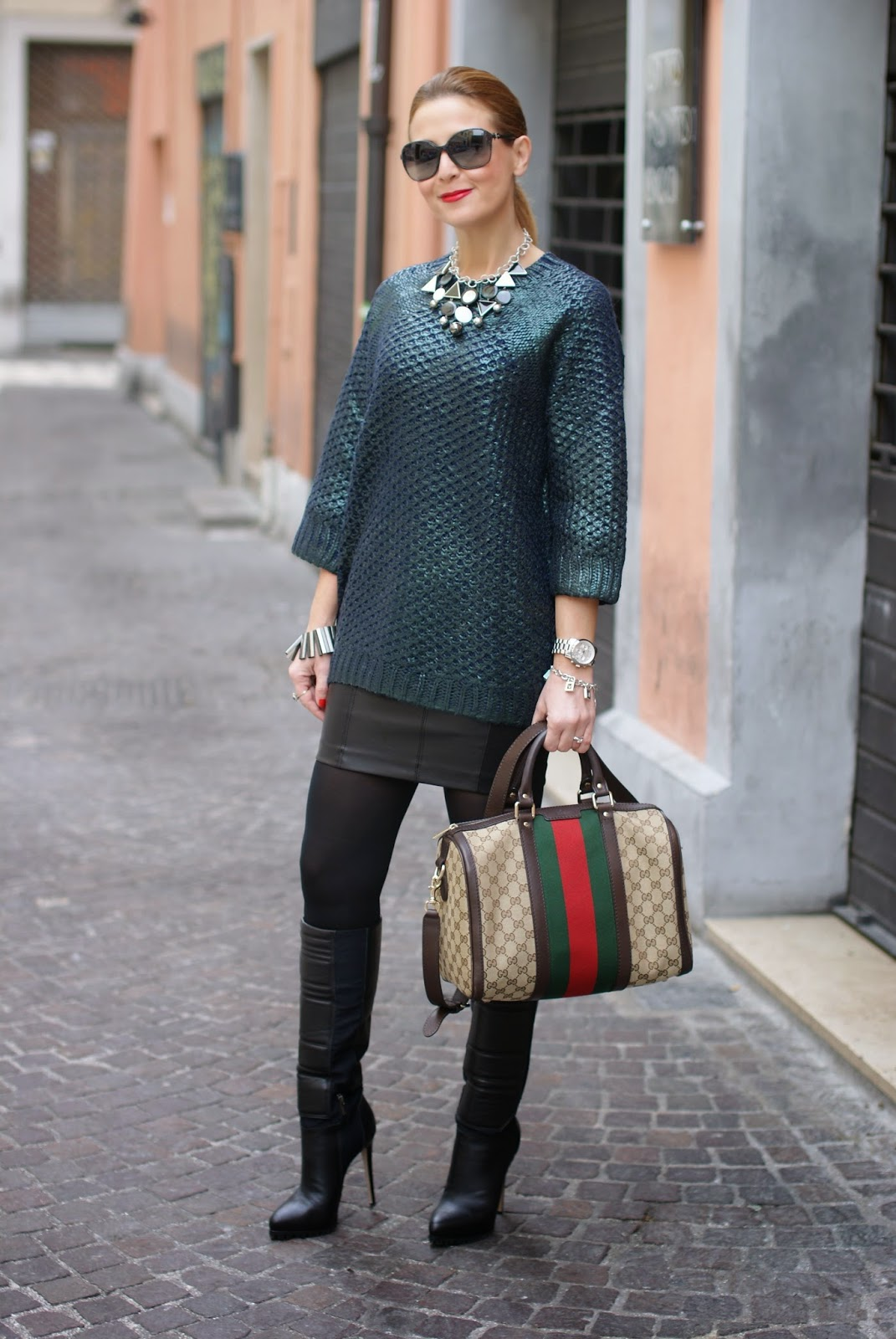 metallic finish jumper worn with leather mini skirt, Fashion and Cookies, fashion blogger