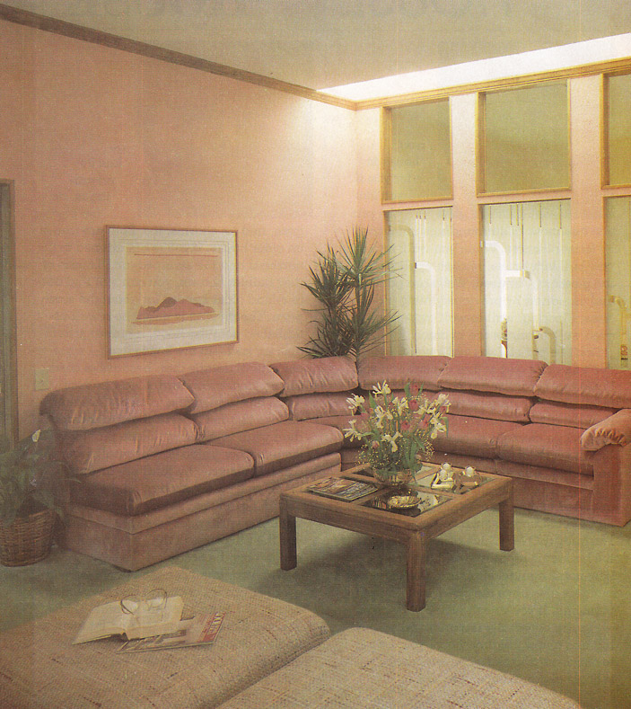 furniture in style. a glass topped coffee table here is in front of an ohso80s dusty rose couch the living room furniture these magazines tended toward that puffy style t