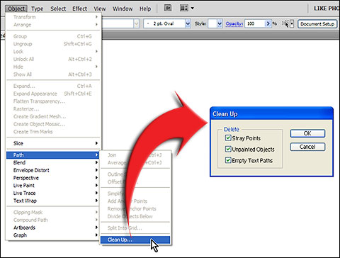 Go to Object > Path > Clean Up to open Clean Up dialog in Adobe Illustrator