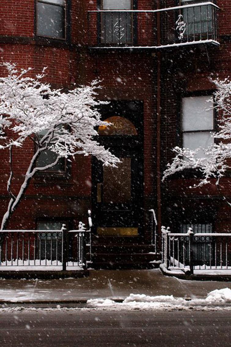 Snowy NYC sidewalk, winter