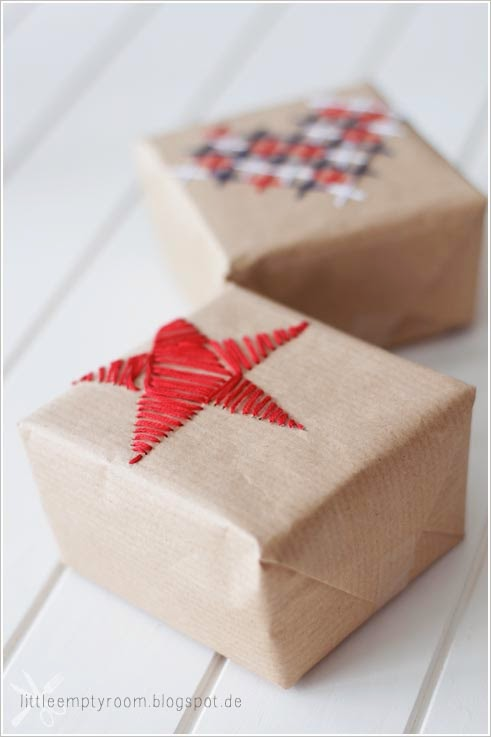 Gift wrapping inspiration: Embroidered paper