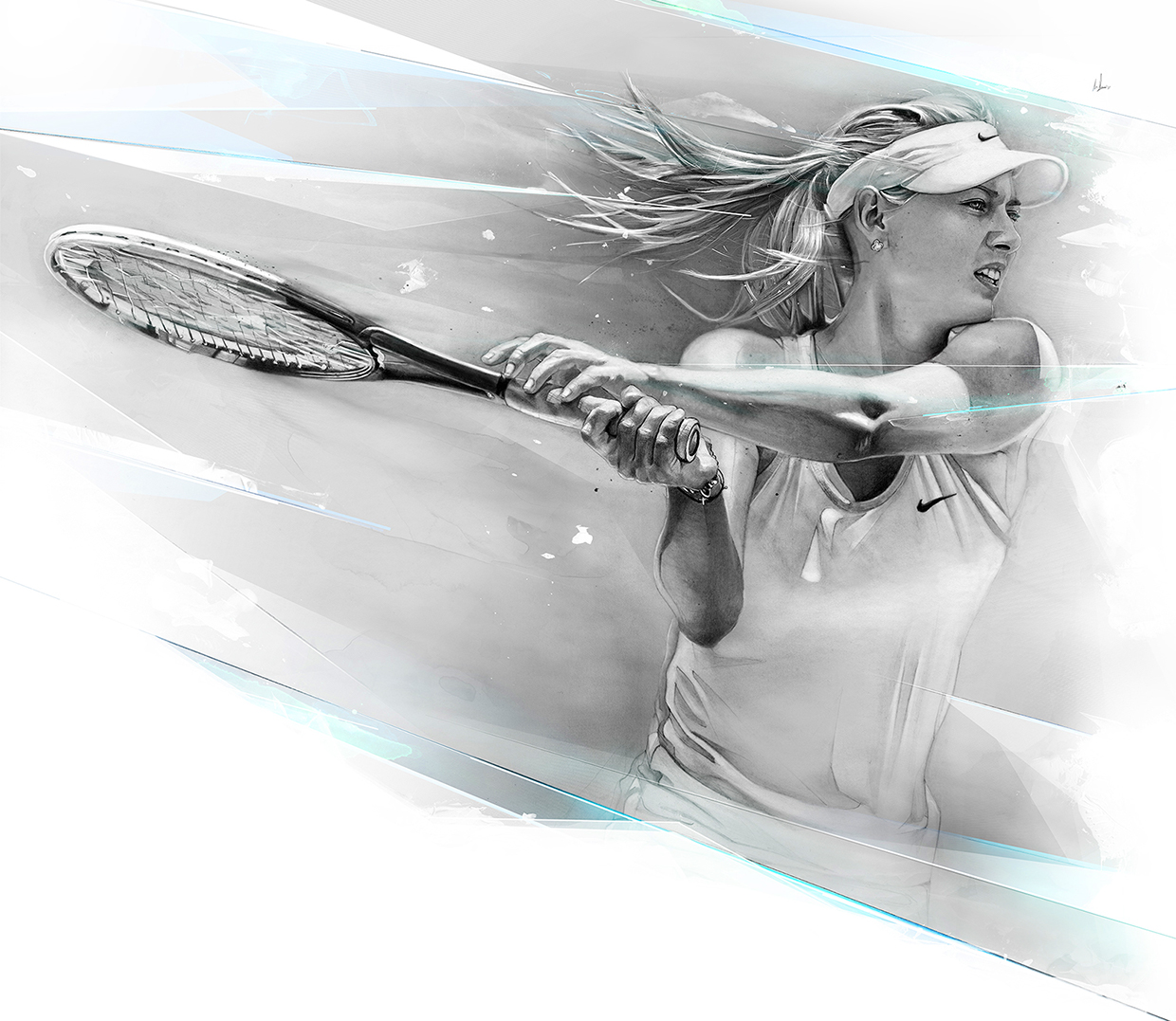 05-Maria-Sharapova-Alexis-Marcou-Traditional-and-Digital-Celebrity-Drawings-www-designstack-co