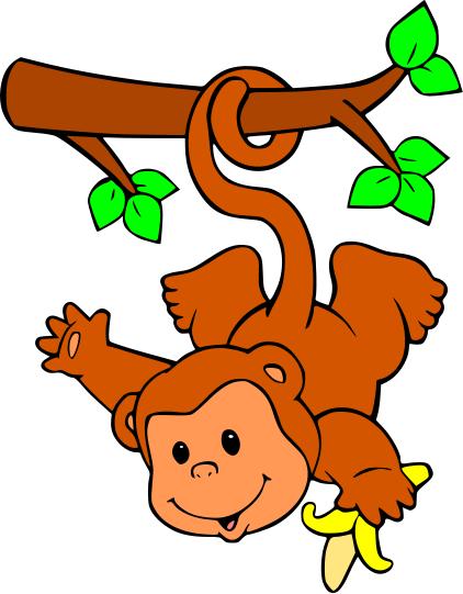 Cartoon monkeys hanging from a tree - photo#27