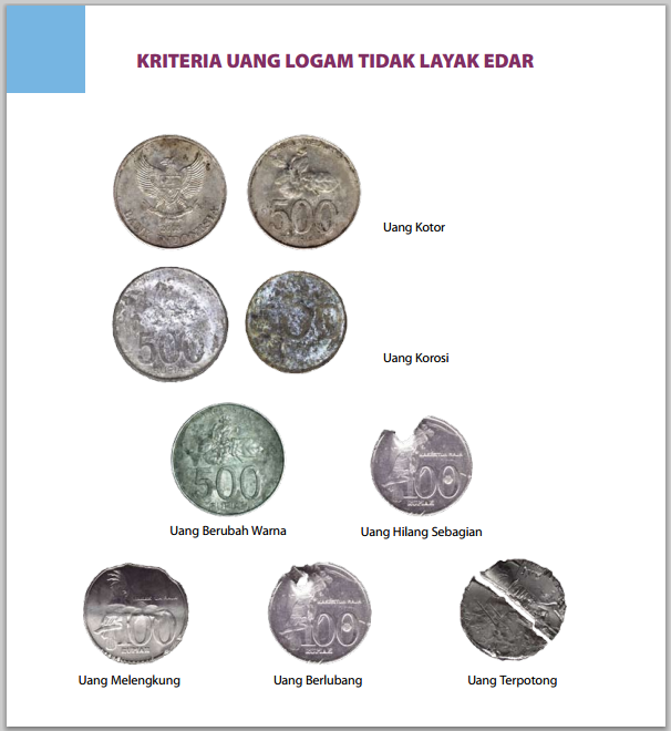 gambar uang logam rusak tidak layak edar
