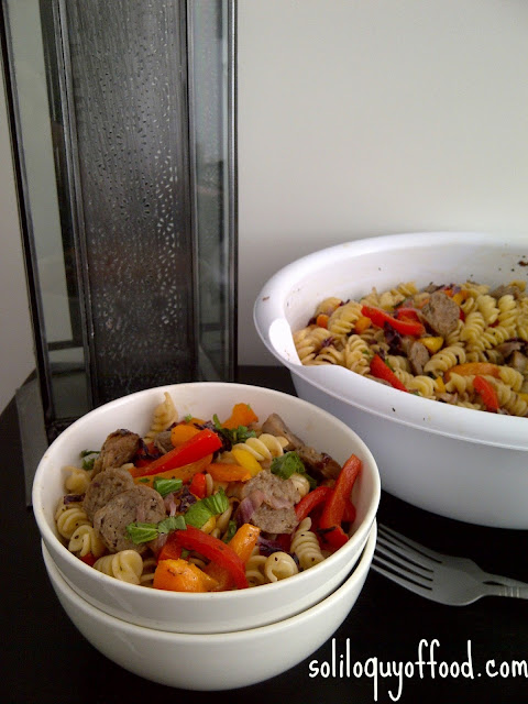 Sausage And Pepper Pasta Salad by soliloquyoffood.com