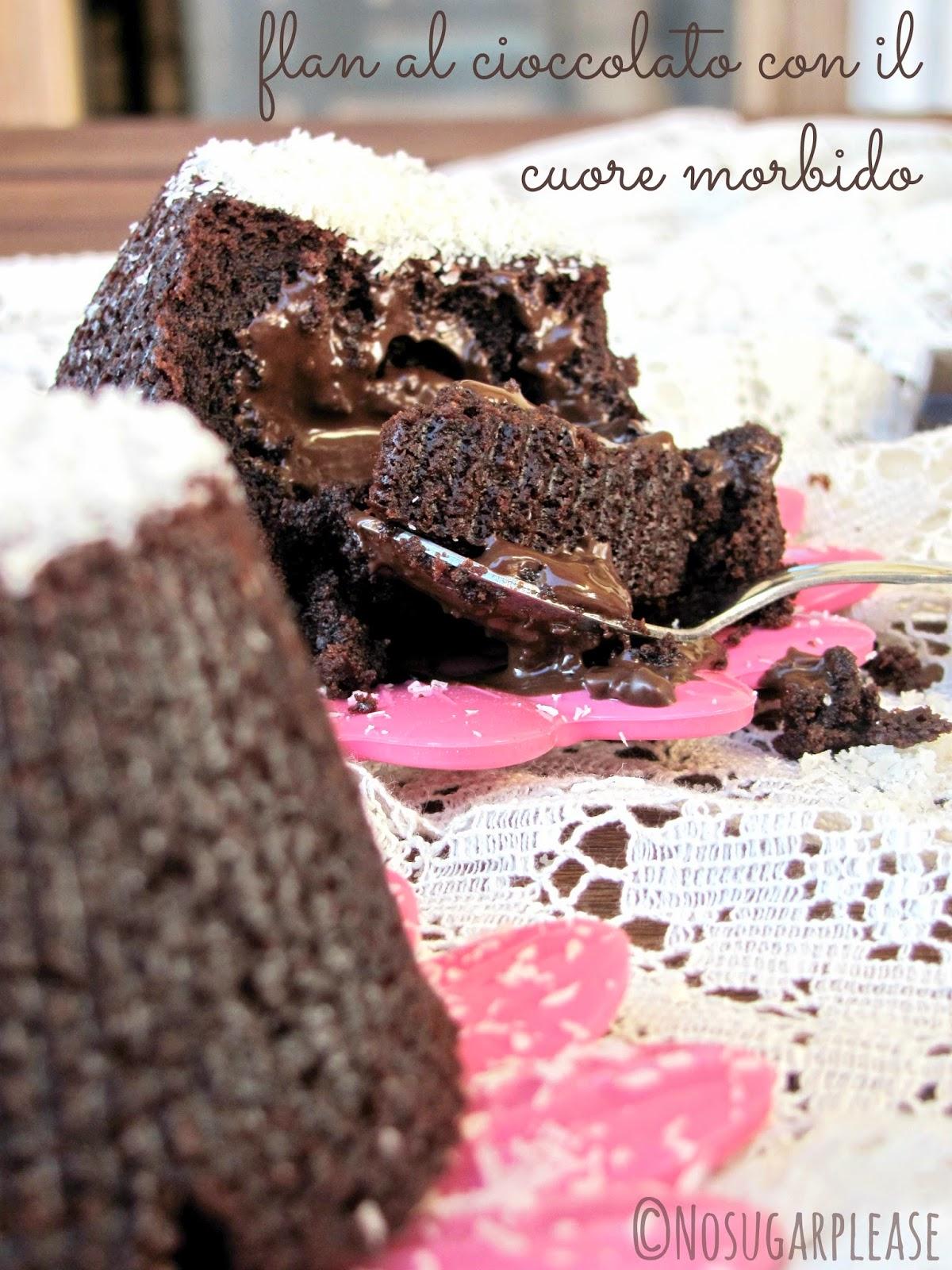flan al cioccolato con cuore morbido