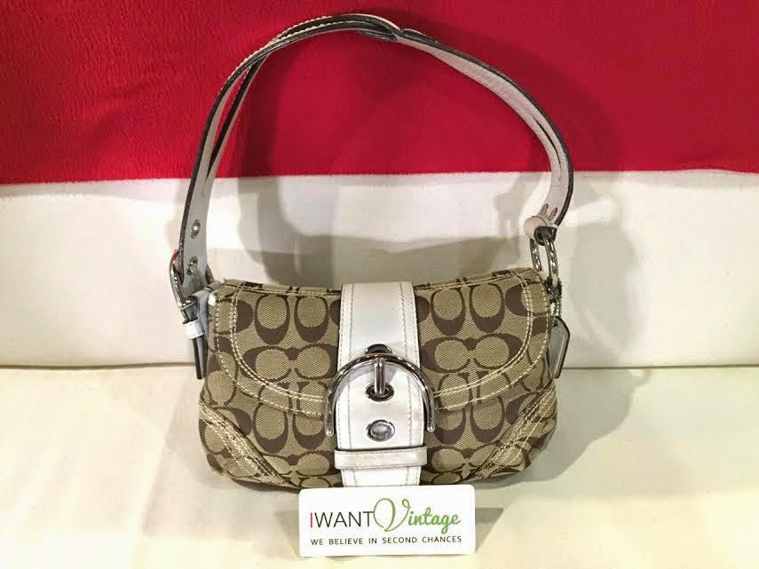 designer handbags coach 6hcw  Coach K0673-10602 Signature Shoulder Bag-Khaki/white