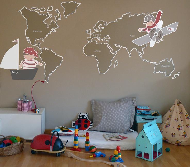 Vinilos infantiles personalizados notici n vinilos mapamundi for Vinilo techo habitacion